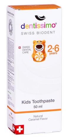 Dentissimo Зубна паста з смаком натуральної карамелі для дітей 2-6 років 50 мл 1 туба