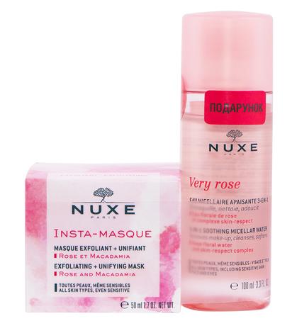 Nuxe Інста-маска відлущуюча 50 мл + Very Rose Міцелярна вода 3-в-1 100 мл 1 набір