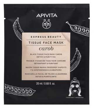 Apivita Express Beauty Маска тканинна чорна з насінням ріжкового дерева Детокс та очищення 20 мл 1 шт