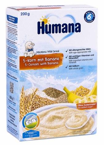 Humana Каша молочна 5 злаків з бананом з 6 місяців 200 г 1 коробка