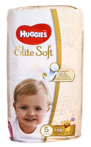 Huggies Elite Soft 5 Підгузки дитячі 12-22 кг 56 шт
