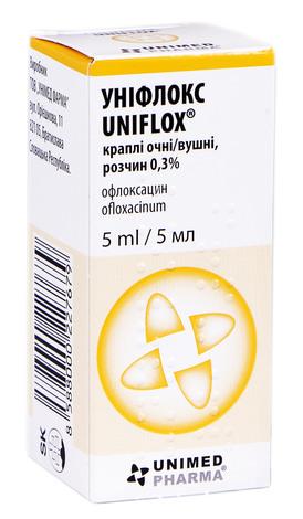 Уніфлокс краплі очні та вушні 0,3 % 5 мл 1 флакон