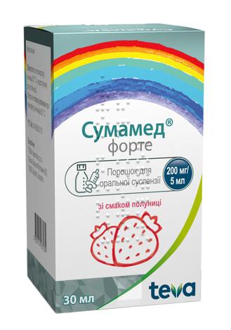 Сумамед форте зі смаком полуниці порошок для оральної суспензії 200 мг/5 мл  30 мл 1 флакон