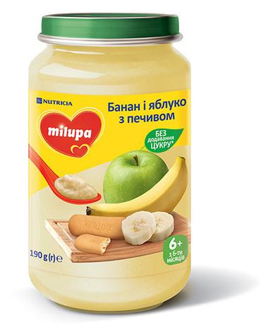 Milupa Пюре Банан і яблуко з печивом від 6 місяців 190 г 1 банка