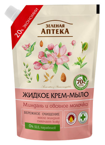 Зелена Аптека Крем-мило рідке Мигдаль і вівсяне молочко 460 мл 1 пакет