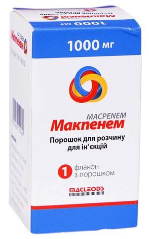 Макпенем порошок для ін'єкцій 1000 мг 1 флакон