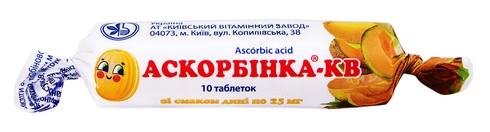 Аскорбінка-КВ зі смаком дині таблетки 25 мг 10 шт