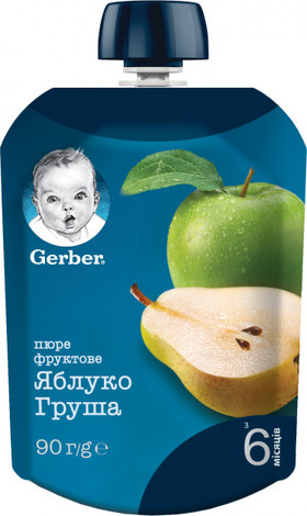 Gerber Пюре Яблуко і груша від 6 місяців 90 г 1 пауч