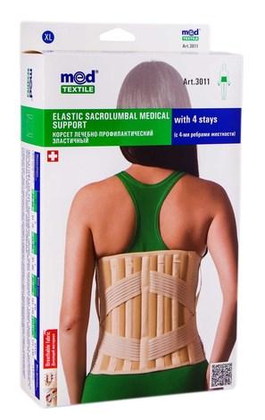 MedTextile 3011 Корсет лікувально-профілактичний еластичний з 4-ма ребрами розмір XL 1 шт