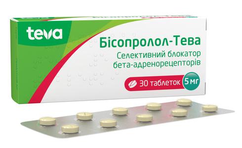 Бісопролол Тева таблетки 5 мг 30 шт