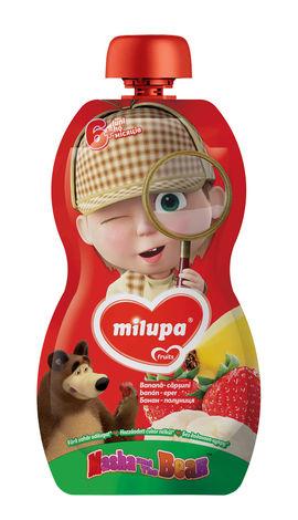 Milupa Пюре Маша і Ведмідь Банан, полуниця від 6 місяців 100 г 1 банка