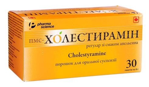пмс-Холестирамін регулар зі смаком апельсина порошок для оральної суспензії 4 г 30 пакетів