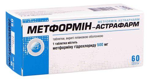 Метформін Астрафарм таблетки 500 мл 60 мг