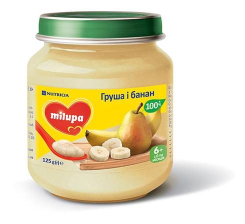 Milupa Пюре Груша і банан з 6 місяців 125 г 1 банка