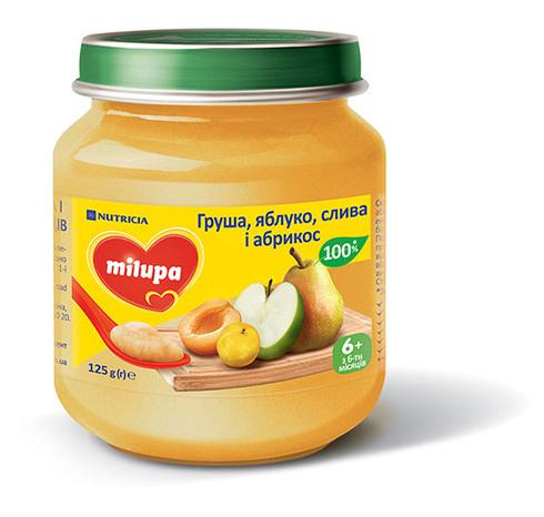 Milupa Пюре Груша, яблуко, слива і абрикос від 6 місяців 125 г 1 банка