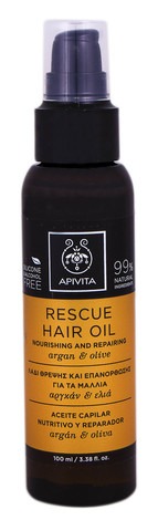 Apivita Олія живильна та відновлювальна для волосся з арганом та оливою 100 мл 1 флакон