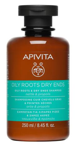 Apivita Шампунь для волосся з жирними коренями та сухими кінчиками з кропивою та прополісом 250 мл 1 флакон