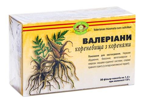 Ліктрави Валеріани кореневища з коренями 1,5 г 20 фільтр-пакетів