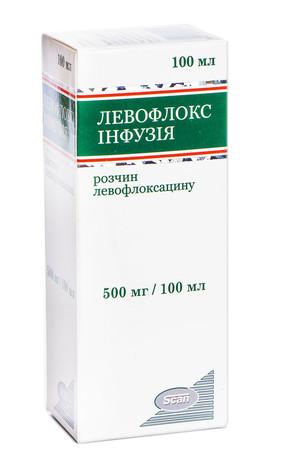 Левофлокс розчин для інфузій 500 мг/100 мл  100 мл 1 флакон