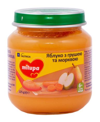 Milupa Пюре Яблуко, груша, морква з 6 місяців 125 г 1 банка