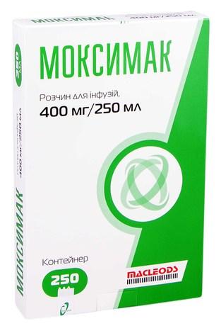Моксимак розчин для інфузій 400 мг/250 мл  250 мл 1 контейнер