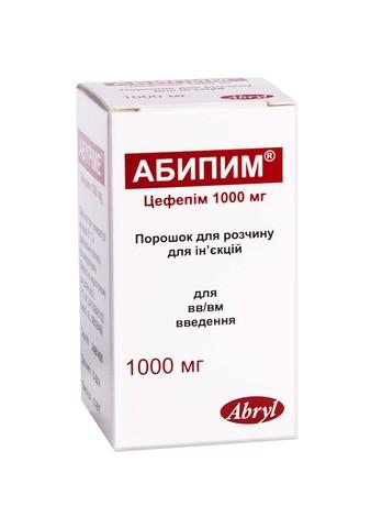 Абипим порошок для ін'єкцій 1000 мг 1 флакон