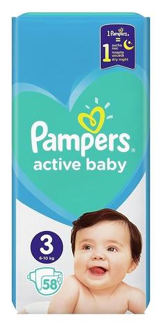 Pampers Active Baby-Dry 3 Midi Підгузки дитячі 6-10 кг 58 шт