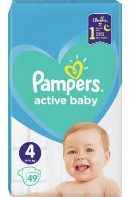 Pampers Active Baby-Dry 4 Maxi Підгузки дитячі 9-14 кг 49 шт