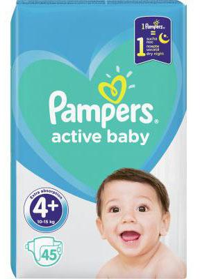 Pampers Active Baby-Dry 4+ Maxi Plus Підгузки дитячі 10-15 кг 45 шт