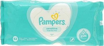 Pampers Fresh clean Серветки вологі дитячі Sensitive з клапаном 52 шт