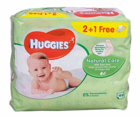 Huggies Natural Care Серветки вологі дитячі 2+1 168 шт