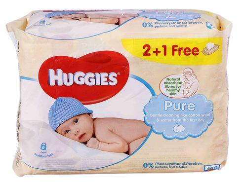 Huggies Pure Серветки вологі дитячі 2+1 168 шт