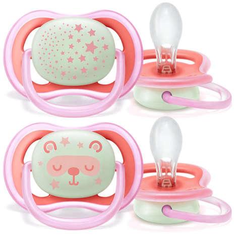 Avent Philips Ultra Air Пустушка нічна для дівчаток 6-18 місяців SCF376/22 2 шт