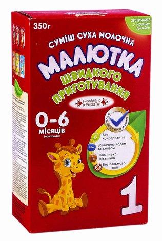 Малютка 1 Молочна суміш швидкого приготування від 0 до 6 місяців 350 г 1 коробка