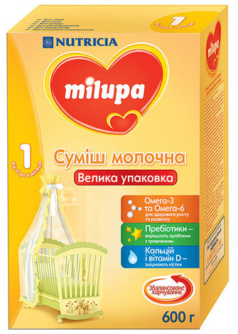 Milupa 1 Молочна суміш від 0 до 6 місяців 600 г 1 коробка