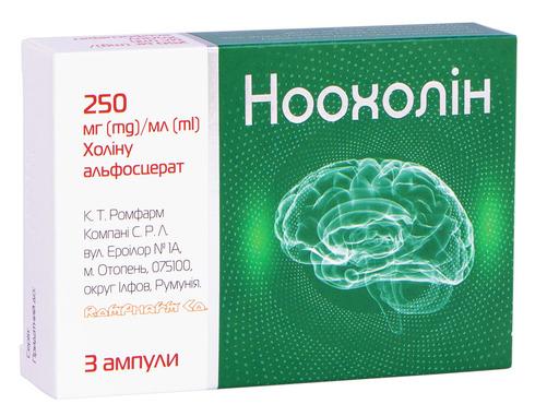 Ноохолін розчин для ін'єкцій 250 мг/мл 4 мл 3 ампули