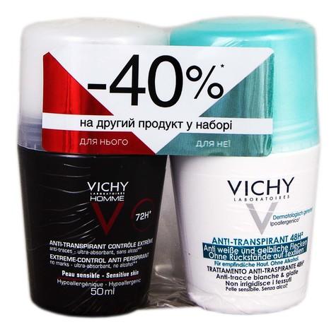Vichy дезодорант-антиперспірант 48 годин 50 мл + Homme дезодорант-антиперспірант 72 години 50 мл 1 набір