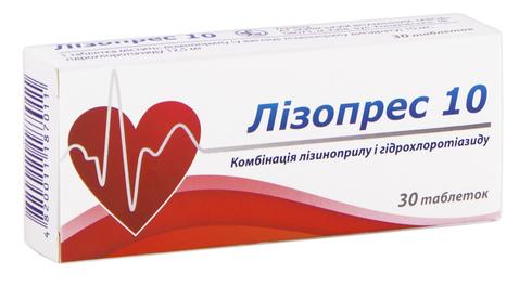 Лізопрес таблетки 10 мг/12,5 мг  30 шт