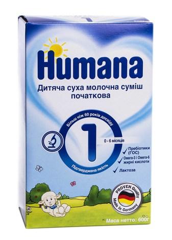 Humana 1 Молочна суміш початкова від 0-6 місяців 600 г 1 коробка