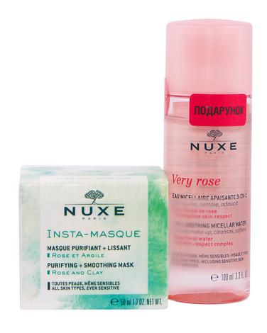 Nuxe Інста-маска очищаюча 50 мл + Very Rose Міцелярна вода 3-в-1 100 мл 1 набір