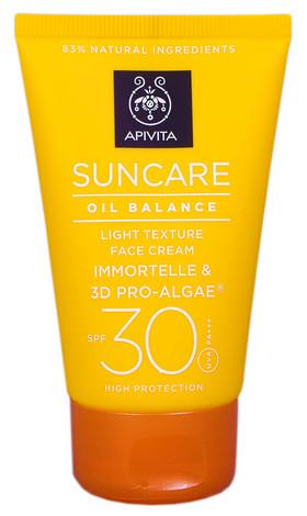 Apivita Suncare Сонцезахисний крем для обличчя легкої текстури, що регулює секрецію сальних залоз SPF-30 50 мл 1 туба