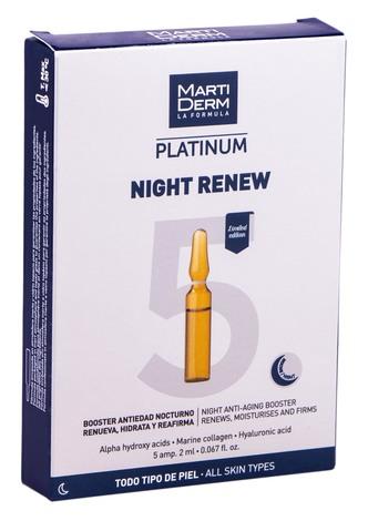 MartiDerm Platinum Найт Ренью ампули антивіковий засіб-бустер для нічного догляду для всіх типів шкіри 2 мл 5 мл