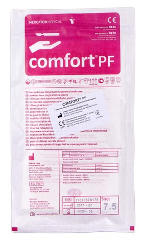 Comfort PF Рукавички латексні хірургічні неприпудрені стерильні розмір 7,5 1 пара
