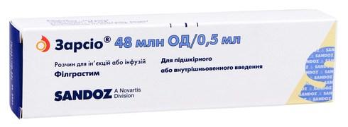 Зарсіо розчин для ін'єкцій та інфузій 48 млн ОД/0,5 мл 0,5 мл 1 шприц