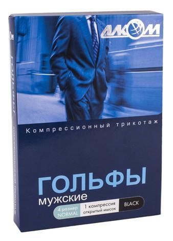 Алком 5091 Гольфи чоловічі з відкритим миском компресія 1 розмір 4 чорний 1 пара