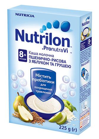 Nutrilon Каша молочна пшенично-рисова з яблуком та грушею з 8 місяців 225 г 1 коробка