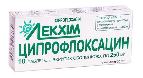 Ципрофлоксацин таблетки 250 мг 10 шт