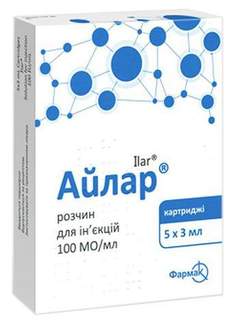 Айлар розчин для ін'єкцій 100 МО/мл 3 мл 5 картриджів