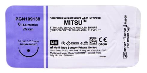 Meril Mitsu 0 Шовний матеріал 75 см фіолетовий, колюча голка 31 мм 1/2 кола PGN109138 1 шт