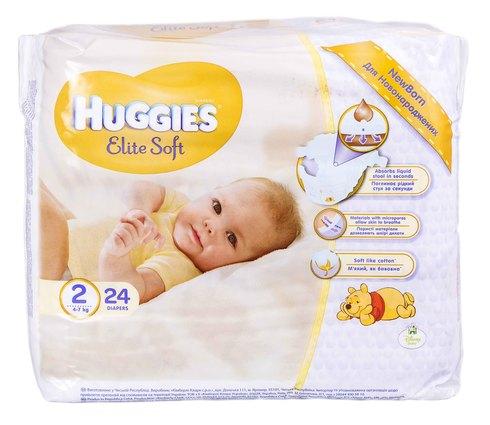 Huggies Elite Soft 2 Підгузки для новонароджених 4-7 кг 24 шт